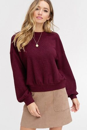 Ribbed textured knitted puff sleeve top