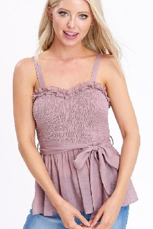 Sweetheart smocking ruffle top