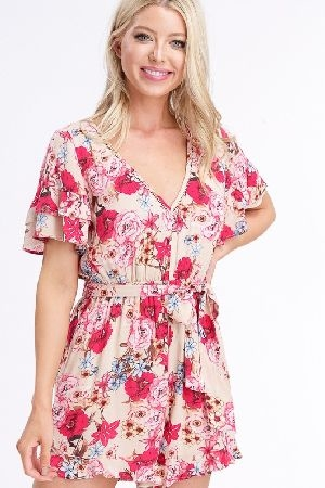 Textured floral printed v neck romper