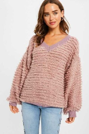 V-neck shearing textured pullover knit sweater