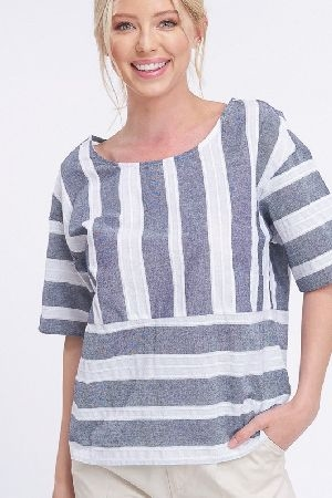 Wide stripe half sleeves top