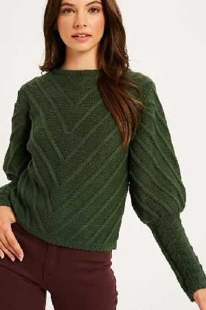 Cable knit victorian sleeve pullover sweater