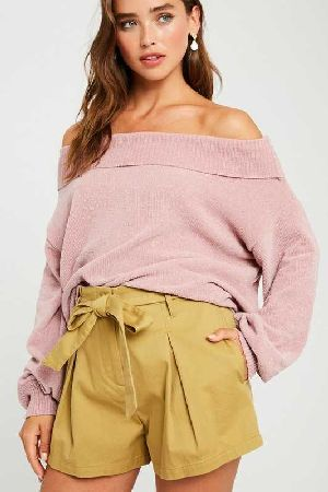 Chenille off shoulder puff sleeve sweater