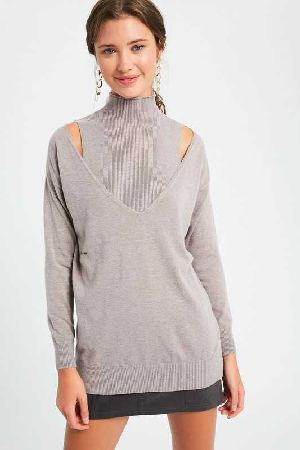 Layered cold shoulder pullover knit sweater