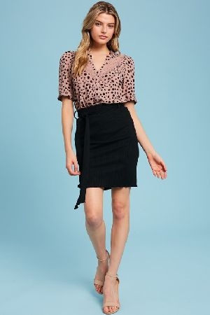 Leopard printed button down top with lace