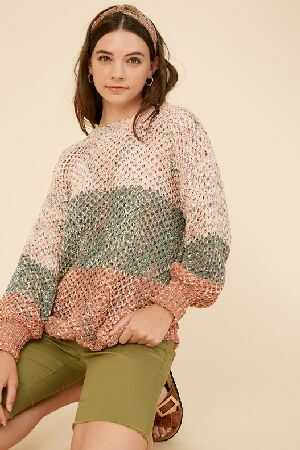 Multi color chenille strip pull over knit sweater