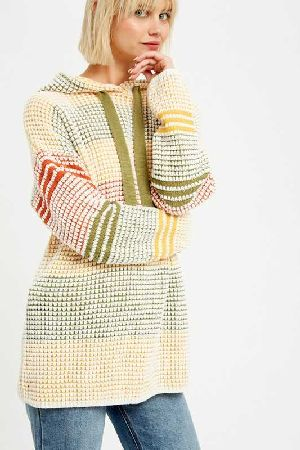 Multi color waffle textured hoodie