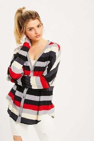 Multi stripe button down jersey top