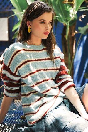 Multi stripe ribbed texture pullover knit sweater