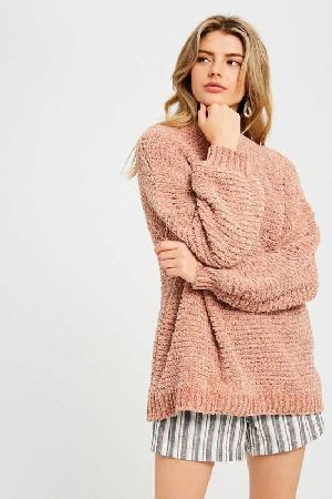 Ribbed textured knitting chenille pullover sweater