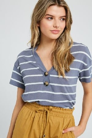 Stripe knit V-neck short sleeve top with buttons