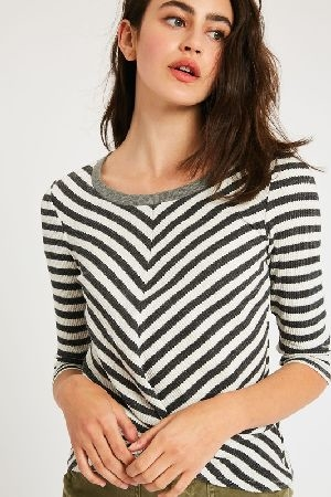 Stripe ribbed front knot crop top