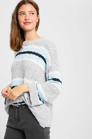 Striped popcorn pullover knit sweater