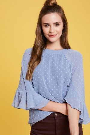 Textured chiffon ruffle sleeves round neck top