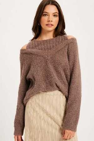Textured layered cold shoulder pullover sweater.