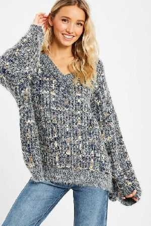 Tweed textured v neck pullover knit sweater