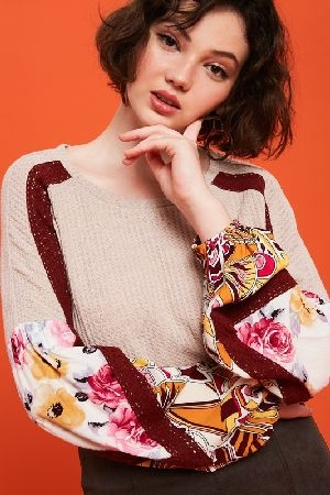Waffle textured top with printed sleeve