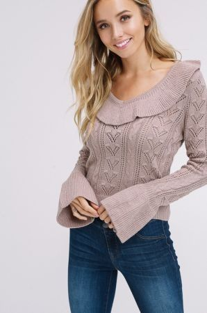 Cable knit ruffle swater