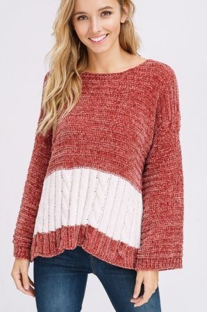 Chenile cable stripe pullover sweater