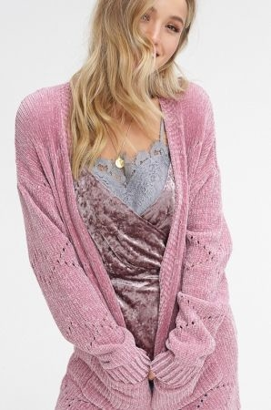 Chenille open cardigan sweater