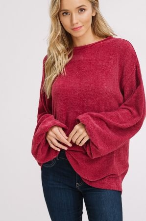 Chenille pullover puff sleeves sweater