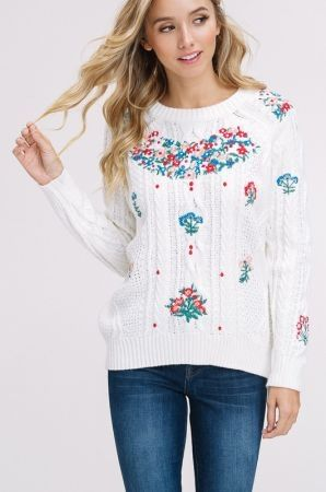 Embroidery cable pullover sweater