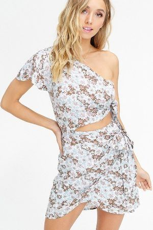 Floral printed one shoulder dress