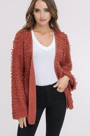 Fringed open sweater cardigan