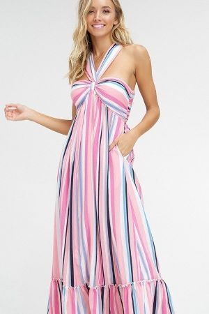 Multi stripe halter neck maxi dress