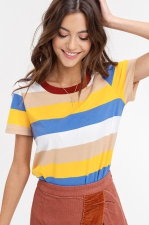 Multi stripe short sleeve t shirt