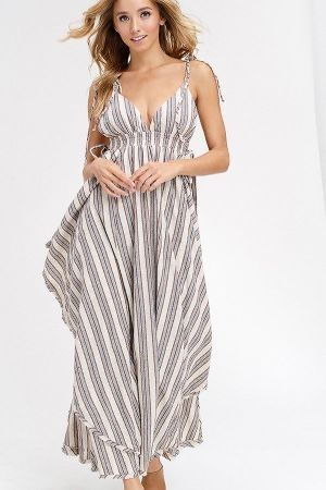 Multi stripe v neck scarp hem maxi dress