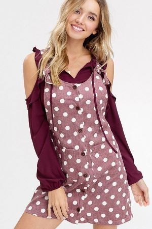 Polka dot corduroy button down overall dress