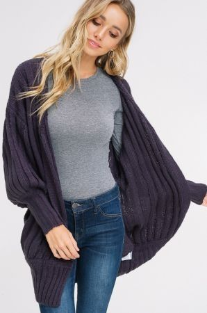 Puff sleeve open cadigan sweater