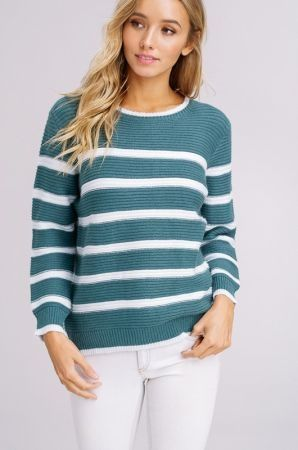 Ribbed knit pullover sweater