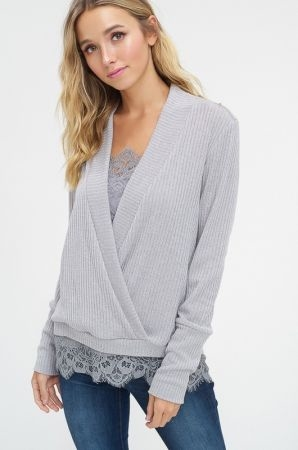Softspun ribbed v neck gather top