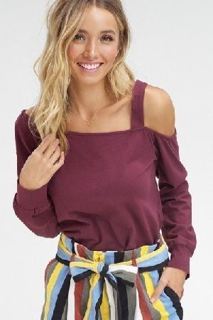 Solid cotton knitted one shoulder top