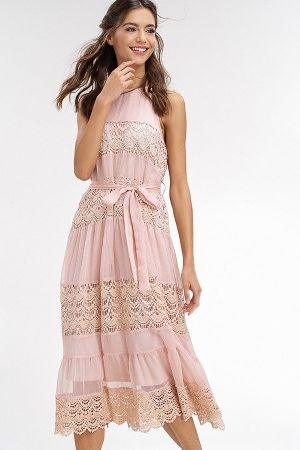 Textured chiffon sleeveless mid dress