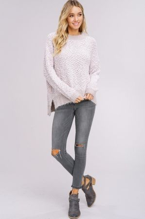 Two tone chenille popcorn sweater