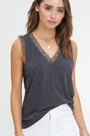 Two tone jersey v neck sleeveless top