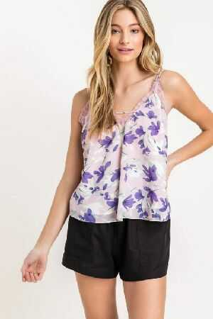 Printed Strappy Lace Cami Top