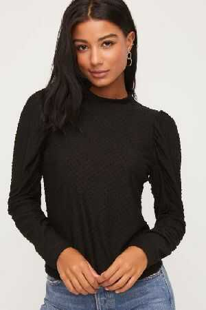Swiss Dot Puff Sleeve Top