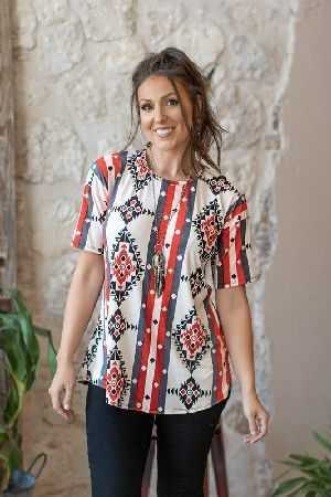 Aztec print short sleeve top