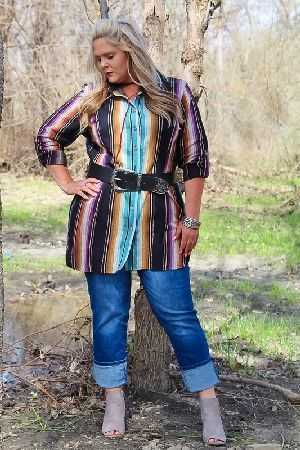 Serape tunic top with imprinted accent color
