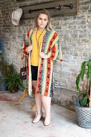Teal and rust striped print kimono