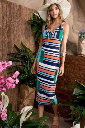 Front tie ribbed multi stripe knit midi dress