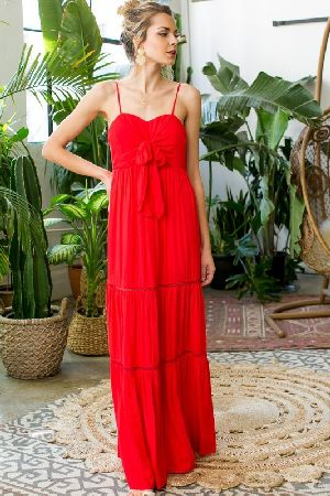 Front tie trim detail ruffle maxi dress