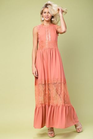 See through colorblock maxi dress
