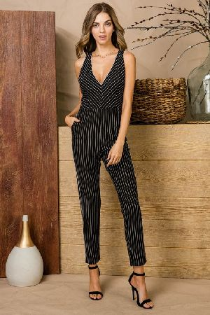 Twist back stripe jumpsuit