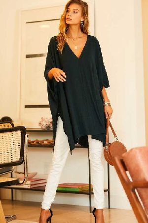 V Neck Poncho Tunic Top