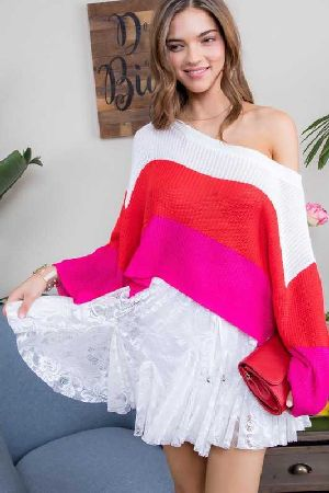 Boat Neck Side Slit Long Sleeve Sweater